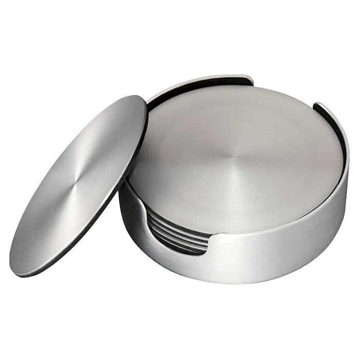Glasunderlag, seks stk. i børstet aluminium, diameter 9,2 cm.