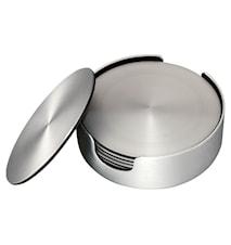 Glasunderlägg 6 pack borstad aluminium diameter 9,2 cm
