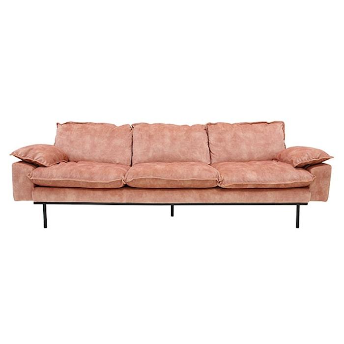 Retro Sofa Fløjl 4-pers Rosa