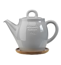 Höganäs Keramik tekanna 1,5 L med träfat kiselgrå blank