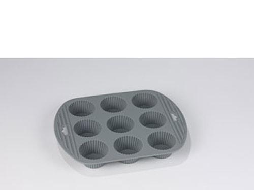 Muffinsform 9 hull grå silikon
