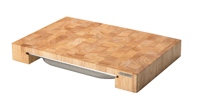 Skjærebrett med boks, gummitre, 48x32x6 cm