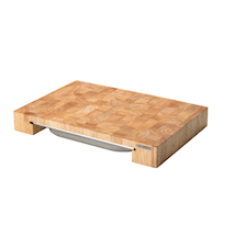 Skärbräda med låda, gummiträ, 48x32x6 cm