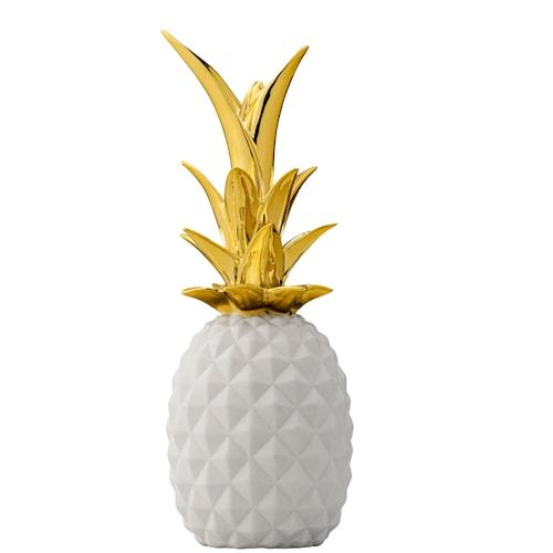 Ananas Deko Small - Vit/Guld