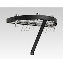 Hahn Premium rund vegghylle 50x25x4 cm svart stål