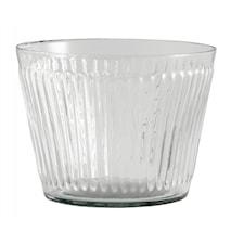 Glass vase/planter, grooves, low
