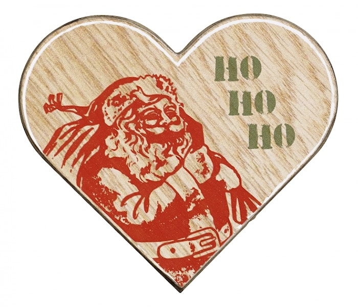 WOOD Hjärta Julkort Tomte