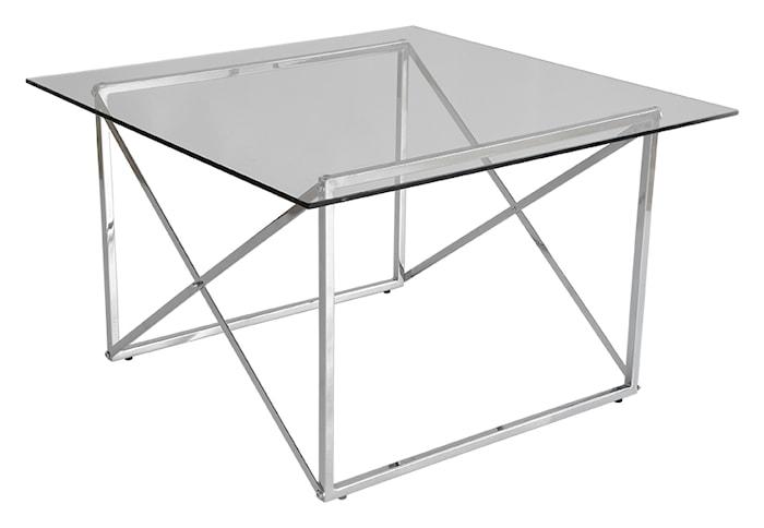 Cross Sofabord, 75x75, blank krom