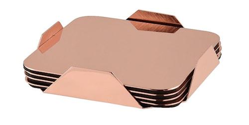 Lasinaluset 4-pack ruostumatonta kuparipinnoitetta telineessä