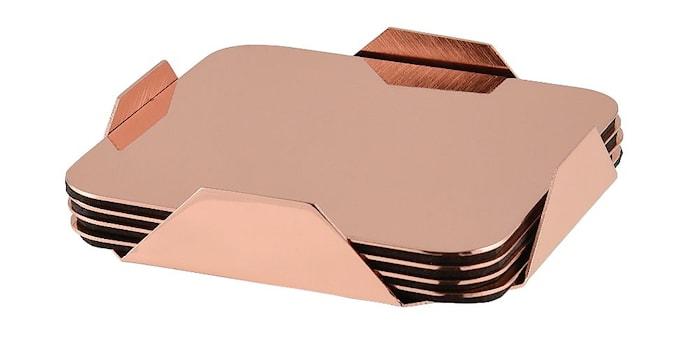 Glasbrikke rustfri kobberbelagt i holder 4-pack