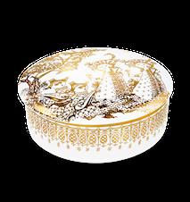 Dåse med låg, Mascarade, guld, Ø16 cm