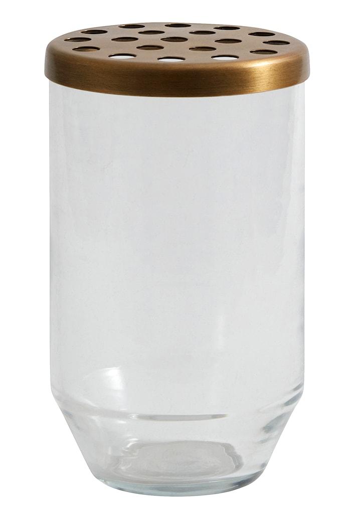 glassvase metallokk 15 cm - Transparant