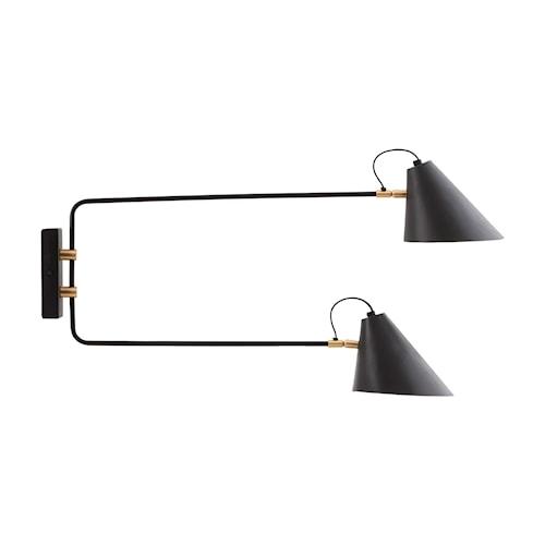 Club Double Vegglampe Svart/Hvit 18-20 cm
