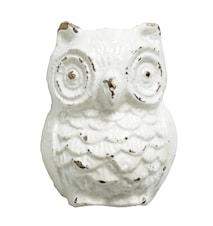 Knopp Owl i jern 5x4 cm - hvit