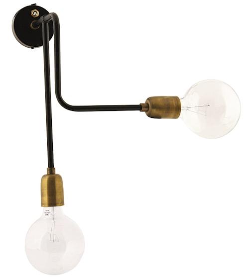 Vägglampa Molecular 18x30 cm - Svart/mässing