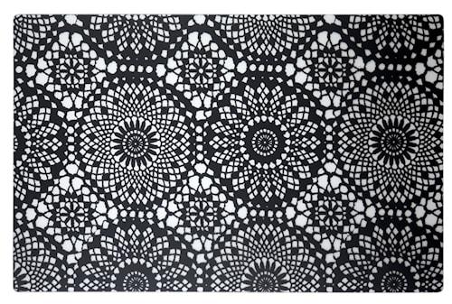 Dækkeserviet - m. mønster - PP - Sort - Transparent - L 44,0cm - B 28,5cm - Stk.