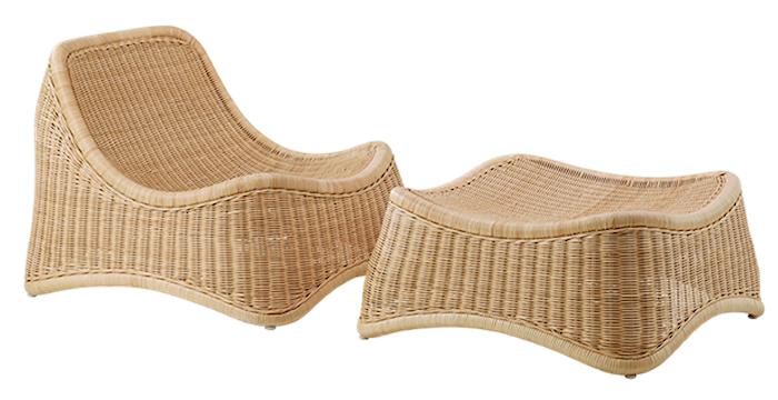 Chill lænestol & fodskammel loungesæt - Til udendørsbrug