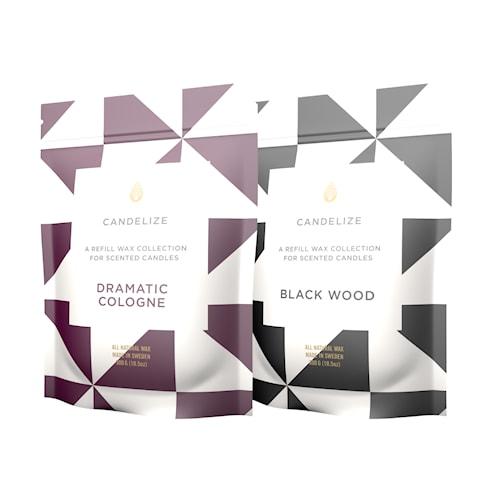 2-pack Doftljus refill Black Wood/ Dramatic Cologne 300 g