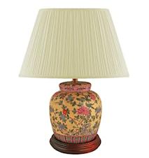 Lampfot, 17,5 cm, röda pioner på gul botten