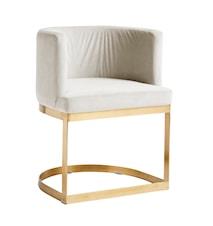 Lounge matbordsstol i sammet - Vit