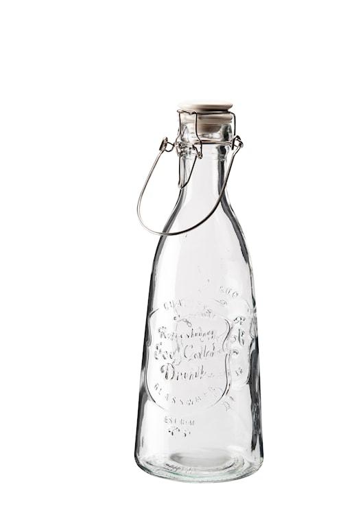 Glasflaske med keramisk kork patentlåg og tekst rummer 1,2 liter