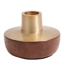 Ljusstake Chub 6 cm - Rostrött/Mässing