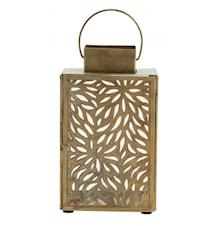 Lantern w/cut out leaves, L, antique age