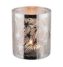 Lykta rostfri med glasrör mönster 10 cm