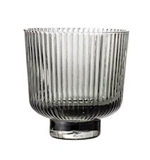 Lysholder Grey Glass Ø9xH8,5 cm