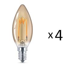 LED E14 Guld Spiral Kr 14W 4st