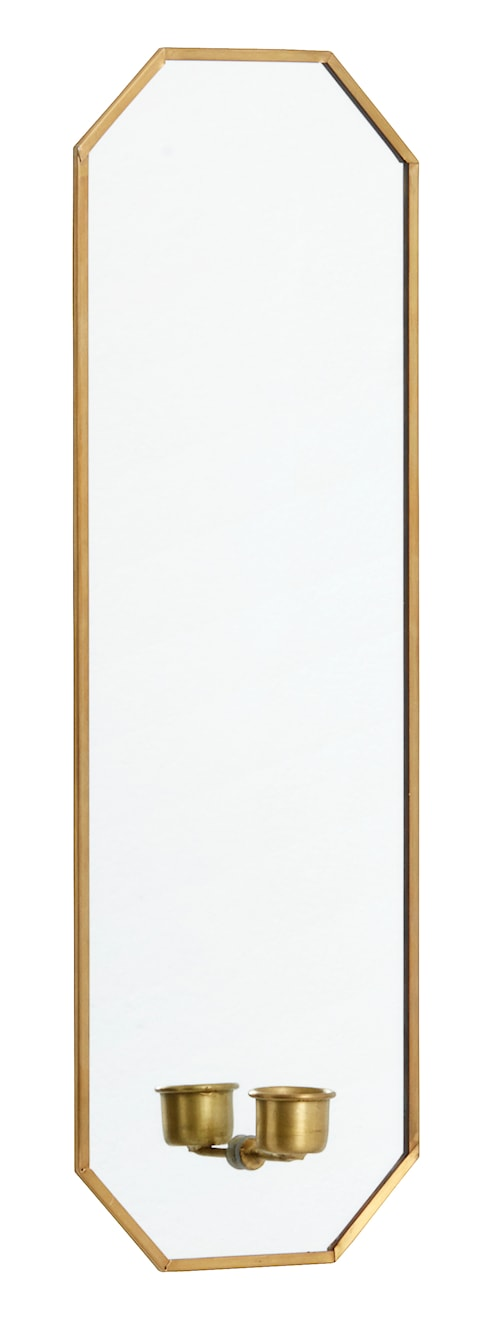 Speil med lysestake 38 x 13 cm - Gull