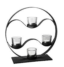 Ljusstake svart smide rund 4 glas höjd  35 cm