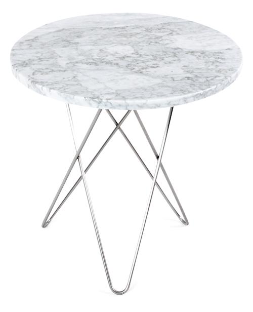 Tall Mini O-table - Vit marmor, krom stomme