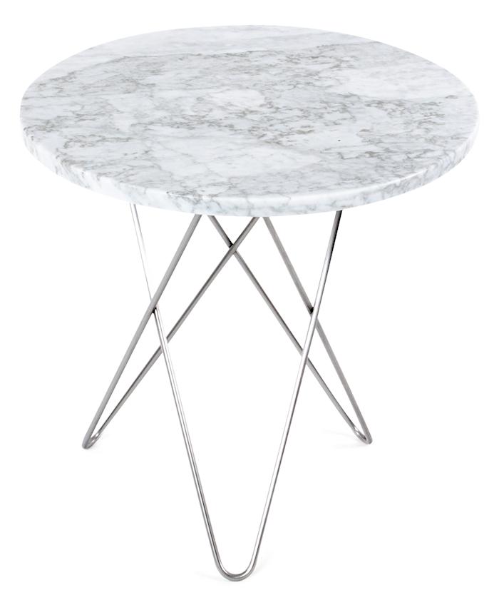 Tall Mini O-table - Hvit marmor, krom stomme