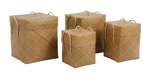 Square basket with lid, s/4 - natur