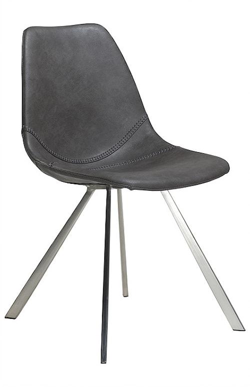 Pitch stol – Vintage grå/borstat stål