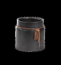 Kruka m läderband d13 h14 cm, grå