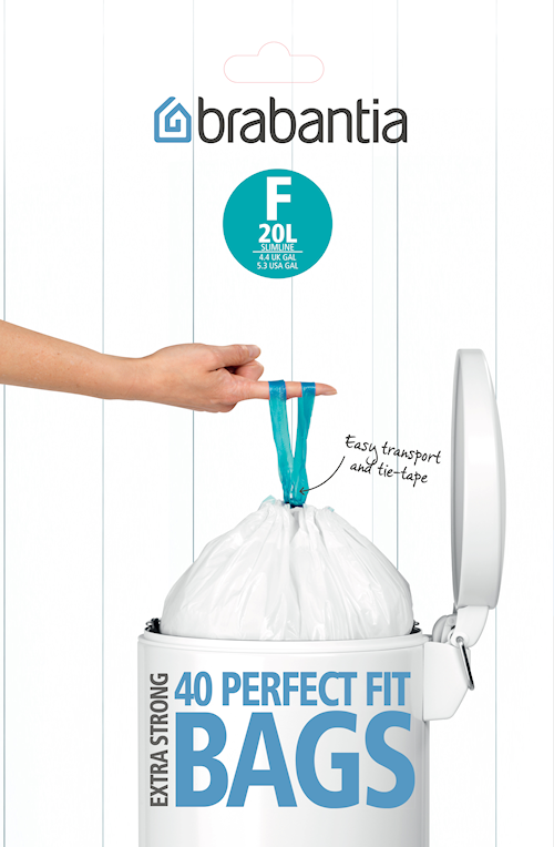 Affaldsposer F, 20Ltr Slimline [Dispenser Pack med 40 poser] White