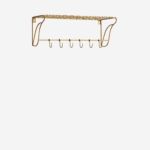 Hylla med krokar 50x20x18 cm - Mässing
