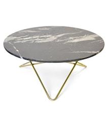 Large O Table Svart Marmor med Mässingram Ø100