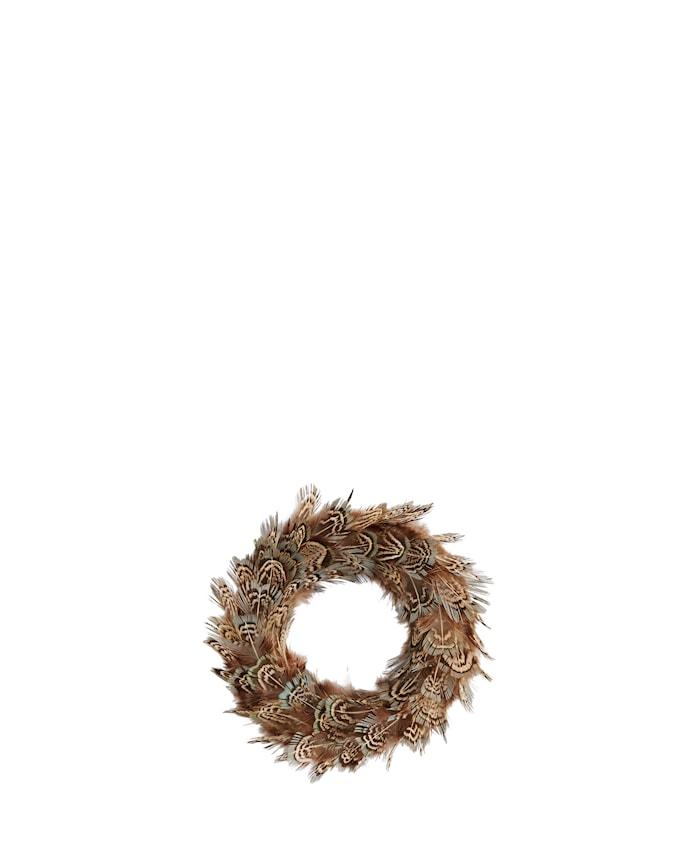 Fjærdekorasjon Ø 10 cm - Brun/beige