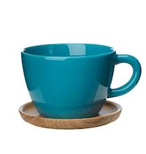 Höganäs Keramik temugg 50 cl med träfat sjögrön blank