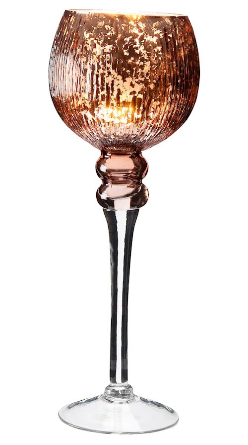 Ljuslykta glas koppar räfflatt mönster höjd 35 cm