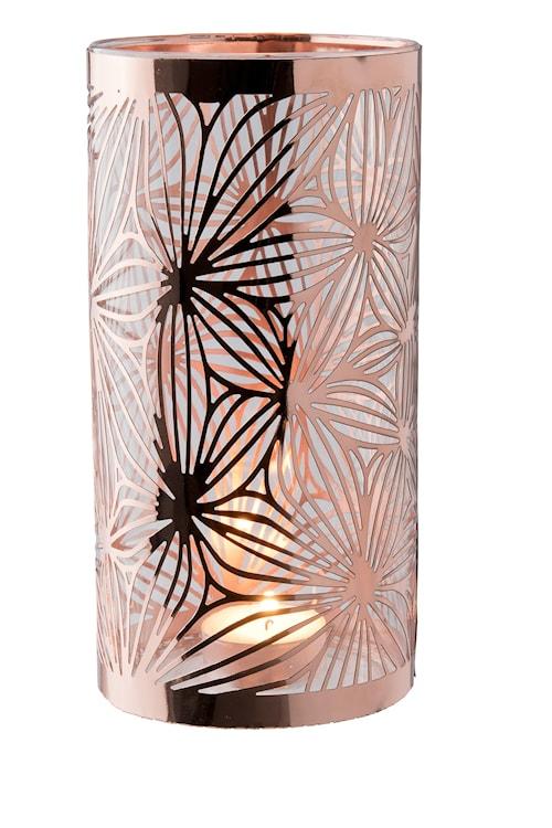 Lykta koppar med glasrör mönster höjd 20 cm