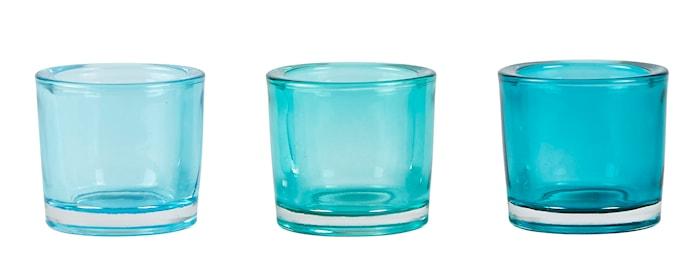 Fyrfadsstage - Usorteret - Glas - Blå - D 6,0cm - H 6,0cm - Stk.