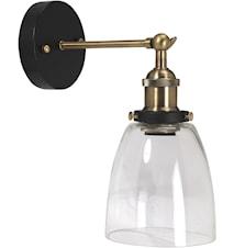 Vegglampe Sort / Klar skjerm 14cm