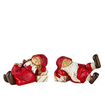 Figur - Nisse - 2 stk. - Polyresin - Rød - H 5,5cm - L 9,0cm - B 4,5cm - PET æske