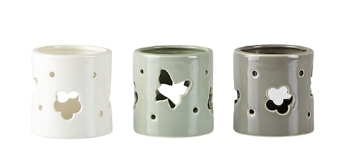 Ljushållare 3 st m presentförpackning Keramik Grå 7x7 cm