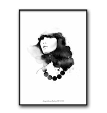 Woman with pearls poster