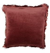 Kuddfodral med Fransar Sammet Röd 50x50 cm